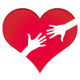 Hands reaching each other in heart symbol Stock Images