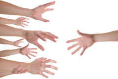 Hands reaching for a helping hand. Several caucasian hands reaching for the helping hand royalty free stock images