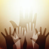 Hands reaching for light. Vector illustration of raised hands reaching out to saving light source