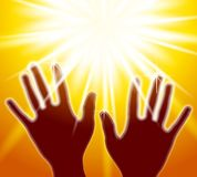 Hands Reaching For The Light Royalty Free Stock Photos