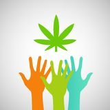 Hands Reaching for a marijuana leaf eps Royalty Free Stock Photography