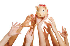 Hands reaching for money in piggy bank Stock Images