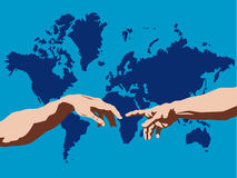 Hands Reaching Out. Michaelangelo's The Creation of Adam superimposed over a world map.  Vector format available