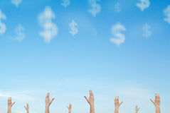 Hands Reaching Out Cloud Money Falling From Sky Royalty Free Stock Photo