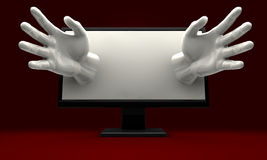 Hands Reaching out of computer monitor Stock Photos