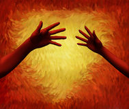 Hands Reaching Out with a fiery heart. In background Royalty Free Stock Photos