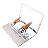 Hands reaching out of laptop screen Royalty Free Stock Image