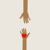 Hands reaching out in love. Illustration of two hands reaching out towards each other with a love heart on one