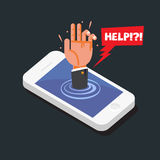 Hands reaching out of smartphone with help bubble. smartphone ad. Diction concept -  illustration