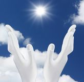 Hands reaching out  the sun. White hands reaching out  the sun