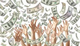 Falling Money Hands Dollars Banner Background. Hands reaching out to catch American dollars falling with a white background Royalty Free Stock Images
