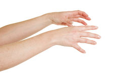 Hands reaching out. Two female hands reaching out to the right Royalty Free Stock Image