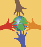 Hands reaching out for the world globe. Vector illustration af four colorful hands reaching for the world globe on orange background
