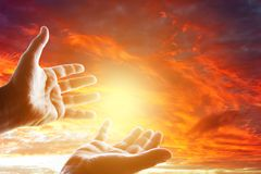Hands in sky. Hands reaching for the sky Royalty Free Stock Photos