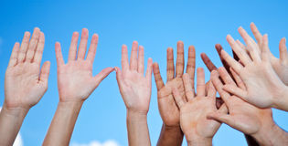 Hands reaching the sky. Various hands reaching the sky royalty free stock image