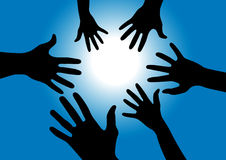Hands reaching for the sun. Vector illustration of black hands reaching for the sun with blue sky and light rays Stock Photos