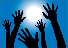 Hands reaching into the sunny sky. Vector illustration of black hands reaching into the air against blue sky and light rays Stock Photo