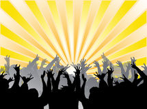 Hands reaching towards sun. An illustration of happy people with their hands reaching towards rays from the sun Stock Image