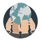 Hands reaching for the world stock illustration
