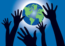 Hands reaching for the World globe Royalty Free Stock Photography