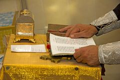 Hands. Reading to bibles in temple,prayer of the monk Stock Images