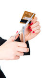 Hands ready to scissor a credit card Royalty Free Stock Photo