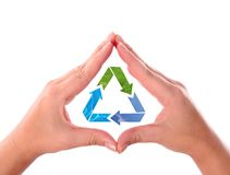 Hands with recycle arrow symbol. Made of grass, water and sky Stock Photo