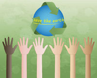 Hands and recycle symbol. Raising hands to the world in recycle symbol on green background Royalty Free Stock Image