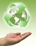 Hands recycle world green Royalty Free Stock Photo
