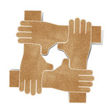 Hands recycled paper craft Stock Photos