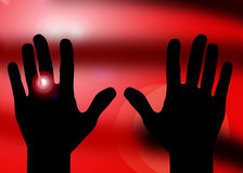 Hands on red car lights background Stock Photo