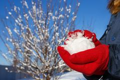 Hands in red gloves holding snowball. On the winter landscape background. Winter season, vacation, games concept. Copy space royalty free stock photos