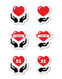 Hands with red heart, love, relationship icons set Royalty Free Stock Image