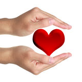 Hands and Red Heart. Hands with red heart on white background stock photo