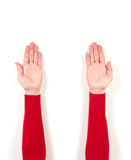 Hands in red jacket and gestures Royalty Free Stock Image