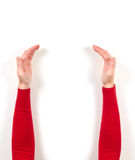 Hands in red jacket and gestures Royalty Free Stock Images