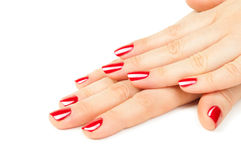 Hands with red manicure Stock Photo