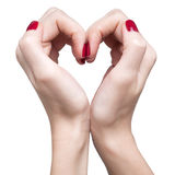 Hands with red manicure Royalty Free Stock Images