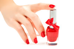 Hands with red manicure isolated Royalty Free Stock Image