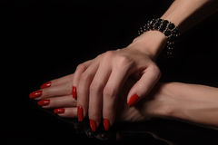 Hands with red manicure Royalty Free Stock Image