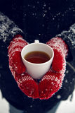 Hands in red mittens holding a mug of tea Stock Photo