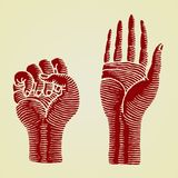 Hands red original woodcut Stock Photos