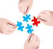 Hands and red puzzle royalty free stock image