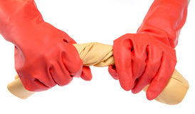 Hands in red rubber gloves wringing a cloth Stock Images
