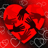 Hands Red Shows Valentines Day And Affection Royalty Free Stock Photo