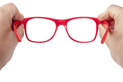 Hands Red Spectacles Focusing Isolated royalty free stock photography