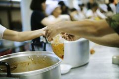 Hands of Refugees Receive Humorous Charity Food : The Concept of Food Shortage.  stock photo