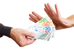 Hands rejecting money Stock Photos