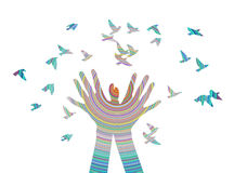 Hands releasing a flock of birds. Spring. Cute funny color vector illustration, image for web design or printing Royalty Free Stock Images