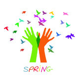 Hands releasing a flock of birds. Spring. Royalty Free Stock Images